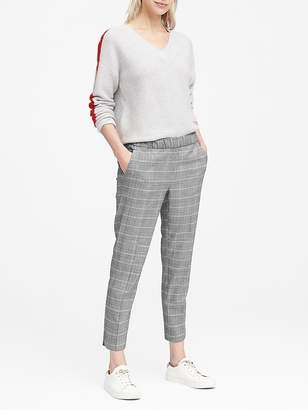 Banana Republic Hayden Tapered-Fit Pull-On Plaid Ankle Pant