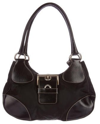 prada Prada Leather-Trimmed Tessuto Hobo