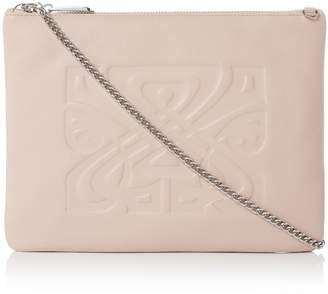 Biba Zip Top Chain Leather Clutch