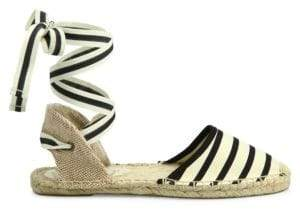 Soludos Striped Ankle-Wrap Espadrilles