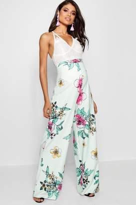 boohoo Maternity Floral Print Wide Leg Trouser
