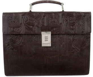 prada Prada Tooled Leather Briefcase
