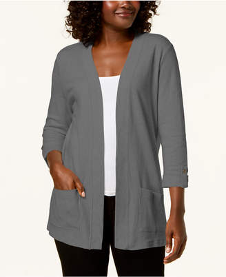 Karen Scott Cotton 3/4-Sleeve Open-Front Cardigan, Created for Macy's