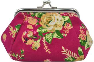 """Oyachic Coin Pouch Canvas Card Purse Clasp Closure Classic Rose Pattern Keys Wallet Gift 5.1"""" L X 3.5"""" H X 3.7"""" W"""