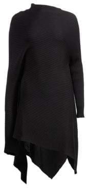 Marques'Almeida Ribbed Wool Draped Asymmetric Sweaterdress