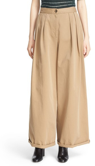 Moncler Women's Moncler Wide Leg Cotton Chino Pants