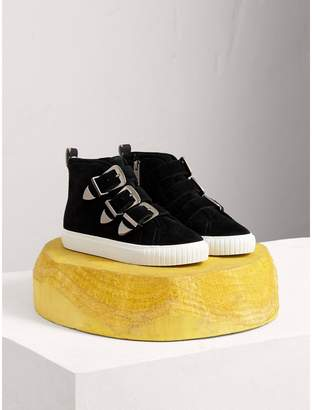 Burberry Buckle Detail Suede High-top Trainers