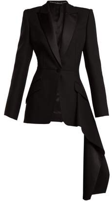Alexander McQueen Draped Wool Silk Jacket - Womens - Black