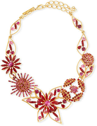 Oscar de la Renta Mixed Jeweled Flower Necklace