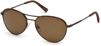 Ermenegildo Zegna Bronze Metal Aviator Sunglasses