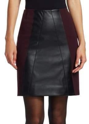 Akris Punto Leather Front Mini Skirt