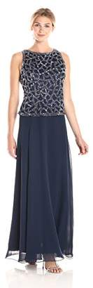 J Kara Women's Geo Beaded Pop Over Dress