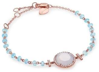 Meira T Chalcedony, Mother-Of-Pearl, Blue Topaz, Diamond & 14K Rose Gold Beaded Bracelet
