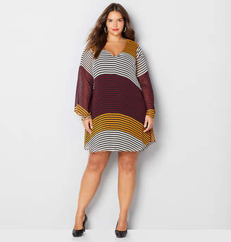 Avenue Wine and Mustard Stripe A-Line Dress