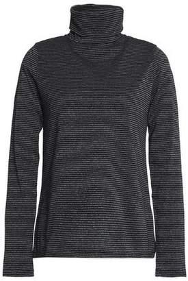 MiH Jeans Range Polo Metallic Striped Cotton-Blend Turtleneck Top
