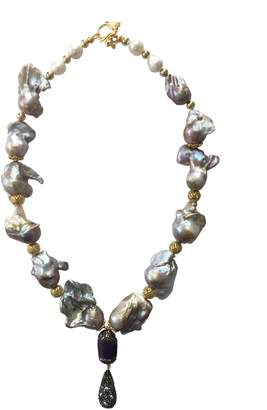 Farra - Natural Baroque Pearls Necklace With Quartz & Rhinestone Pendant