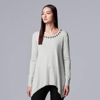 Vera Wang Petite Simply Vera Embellished Handkerchief-Hem Sweater