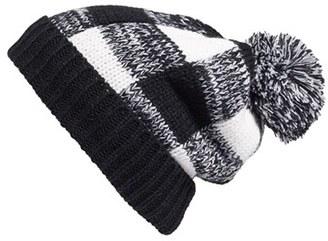 Women's Bp. Check Pompom Knit Beanie - Black $19 thestylecure.com