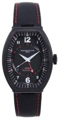 Montres de Luxe Men's EXN 9503 Estremo Black Titanium and Aluminum Luminous Leather Date Watch