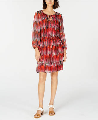 Tommy Hilfiger Printed Tie-Neck Blouson Dress