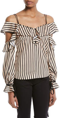 Self-Portrait Self Portrait Striped Off-the-Shoulder Satin Frill Top