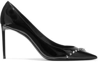 Saint Laurent Zoe Studded Patent-leather Pumps - Black