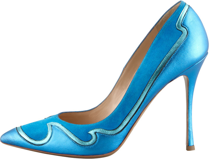 Nicholas Kirkwood Wave Leather & Suede Pump, Aqua