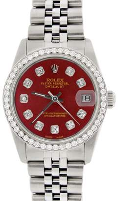 Rolex Datejust Steel Red Dial & Diamond Bezel Jubilee Womens 31mm Watch