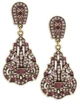 Heidi Daus Multi-Color Rhinestone Double Drop Earrings