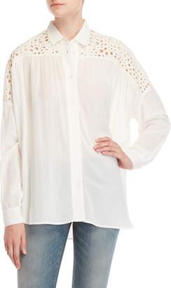 IRO White Eyelet Yoke Shirt