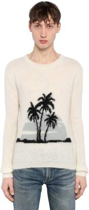 Saint Laurent Palms Mohair Blend Jacquard Sweater