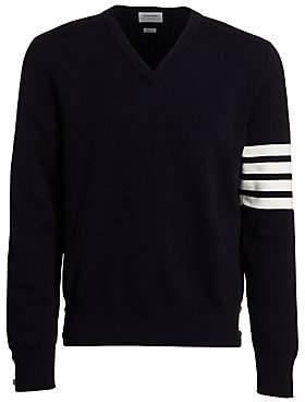 Thom Browne Men's V-Neck Striped Pullover Sweater