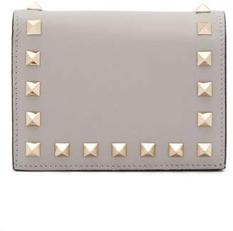 Valentino Rockstud Leather Wallet - Womens - Light Grey