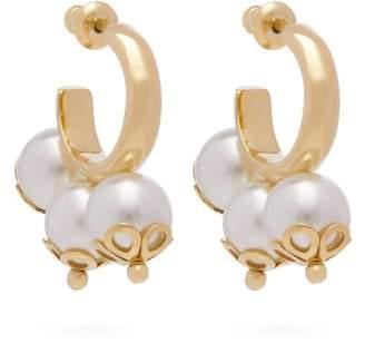 Simone Rocha Ornate Triple Pearl Hoop Earrings - Womens - Pearl