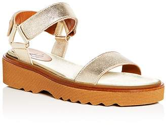 Aquatalia Women's Wande Weatherproof Leather Platform Wedge Sandals