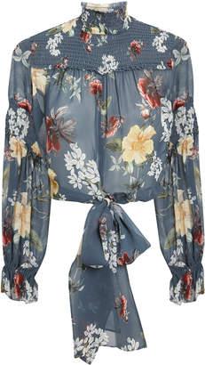 Nicholas Slate Floral Smocked Tie Waist Blouse