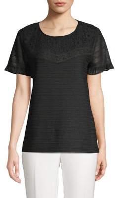 Karl Lagerfeld Paris Short Sleeve Lace Blouse