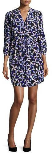 Kate Spade Kate Spade New York Spinner Drawstring Silk Shirtdress, Blue