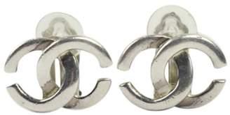 Chanel Silver-Tone Metal CC Logo Clip-On Earrings