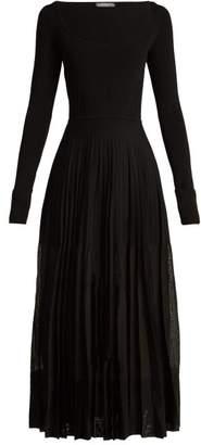 Alexander McQueen Stretch Knit Pleated Midi Dress - Womens - Black