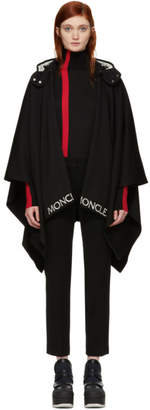 Moncler Black Hooded Logo Trim Poncho