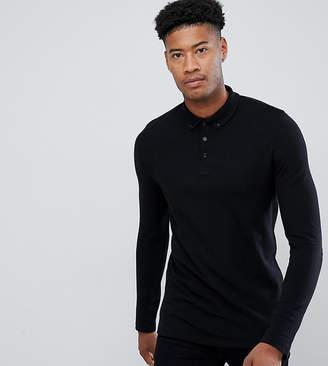Asos DESIGN Tall long sleeve pique polo with button down collar in black
