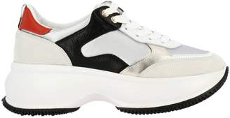 Hogan Sneakers Active One Maxi Sneakers In Smooth Suede And Canvas With Laminated Details