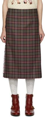 Gucci Burgundy and Black Wool Tartan Kilt Shorts