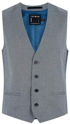 Topman Mens Green Gray Houndstooth Skinny Suit Vest