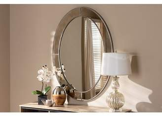 Baxton Studio Branca Modern and Contemporary Antique Silver Finished Oval Accent Wall Mirror