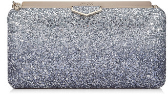 Jimmy Choo ELLIPSE Navy and Silver Coarse Glitter Degrade Clutch Bag