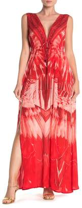 Shahida Parides Plunge V-Neck Double Slit Maxi Dress