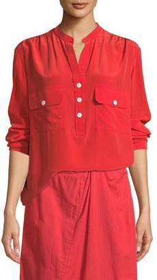 Vince Long-Sleeve Button-Placket Silk Blouse