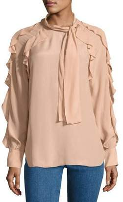 See by Chloe Tie-Neck Ruffled Silk-Blend Blouse